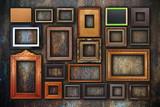 Fototapety grunge wall full of old frames