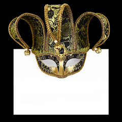 Vintage venetian carnival mask with blank label