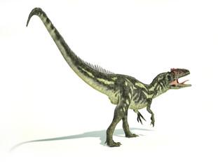 Allosaurus Dinosaurus, photorealistic representation, dynamic po