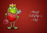 Frog with heart in Valentine's Day