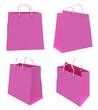 Set of four classic pink shopping bags. 3d.
