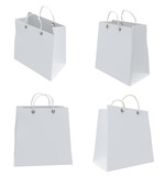 Set of four classic white shopping bags. 3d.