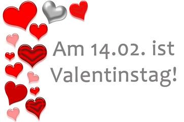 Text am 14.02. ist Valentinstag rot