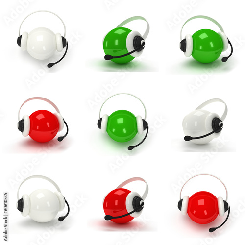 Set of orbs with headset isolated over white