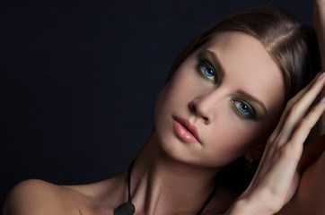 Fashion Beauty Girl. Gorgeous Woman Portrait. Make up.