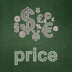 Advertising concept: Finance Symbol and Price on chalkboard