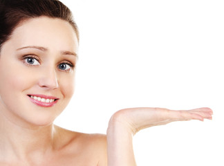 Skincare attractive girl holding her hand isolated