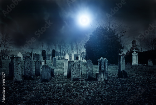 Foto op Canvas Temple Cemetery night
