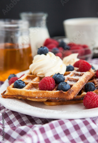 Belgian waffles with fresh berries