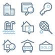 Real estate icons, blue line contour series
