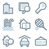 Real estate icons, blue line contour series