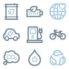 Ecology icons, blue line contour series