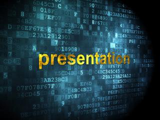 Advertising concept: Presentation on digital background