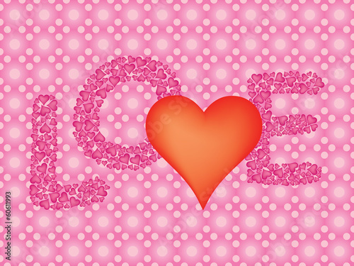 pink Valentines Day background with word Love