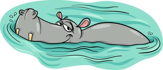 hippo or hippopotamus in river cartoon