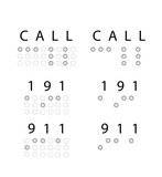 "Emergency word ""Call,191,911"" in braille. Vector"