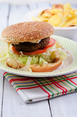 Hamburger, Cheeseburger, Salat, brötchen, Fleisch