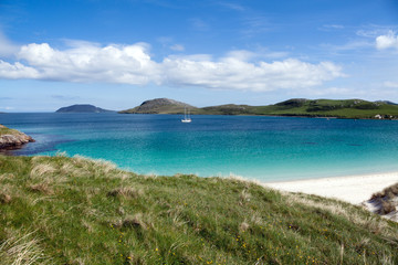Summer at Hebrides, white beach and colorful sea