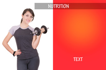 Woman working out with dumbell, ad design