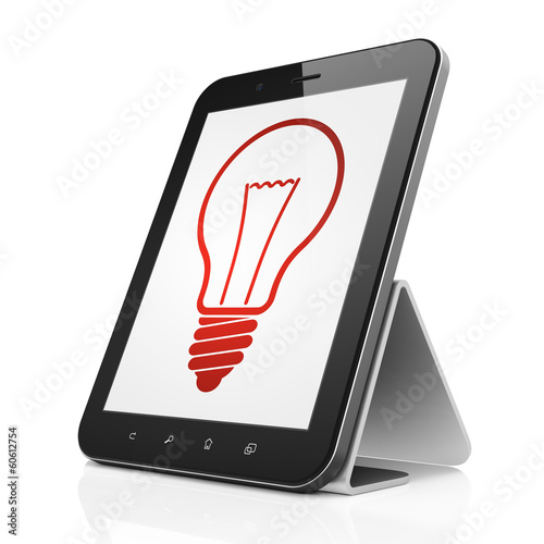 Business concept: Light Bulb on tablet pc computer