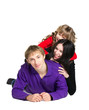 happy family - smiling  father, mother and daughter isolated  on