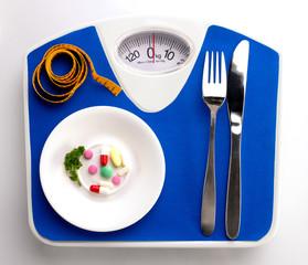 Diet menu on scale