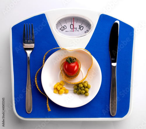 centimeter and scale for dieting concept