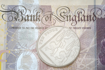 Detail of bank note and ten pence piece
