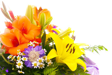 Colorful flower bouquet isolated on white.