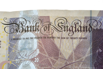 Bank of England banknote in close up