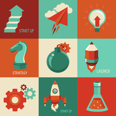 Vector flat icons - start up and launc business