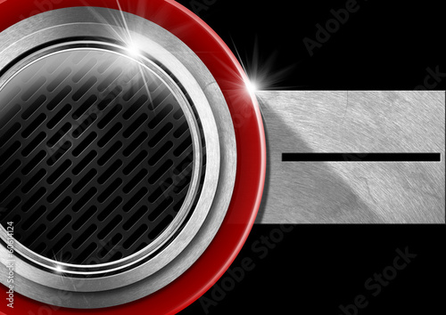 Red Black and Metal Abstract Background