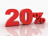 3d rendering of a 20 percent discount in red letters on a white