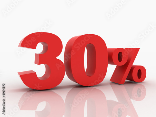 3d rendering of a 30 percent discount in red letters on a white