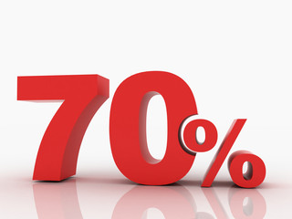 3d rendering of a 70 percent discount in red letters on a white