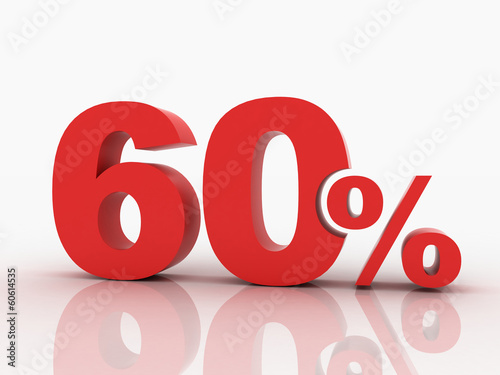 3d rendering of a 60 percent discount in red letters on a white
