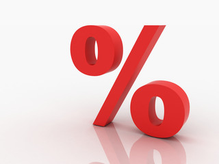 3d rendering of percent discount in red letters on a white backg