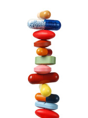 Stack of pills and capsules