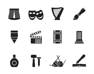Silhouette Different kind of art icons - vector icon set