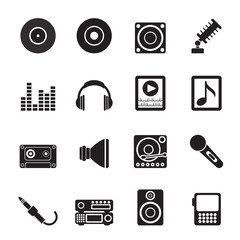 Silhouette Music and sound icons