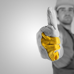 Construction worker giving a thumbs up