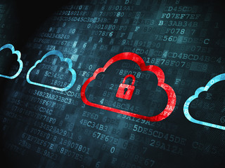 Cloud computing concept: Cloud With Padlock on digital