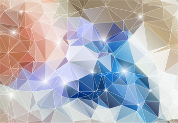 Colorful abstract background shiny polygon