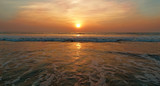 Sunset on the Arabian Sea. Goa, India, Morjim beach.