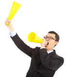 Businessman  encouraging and inspiring with cheering megaphone poster