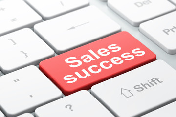 Marketing concept: Sales Success on computer keyboard background