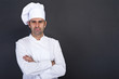 Leinwandbild Motiv Male chef portrait against grey background