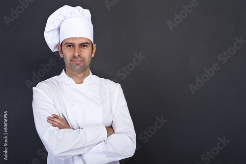 Male chef portrait against grey background - 60616956