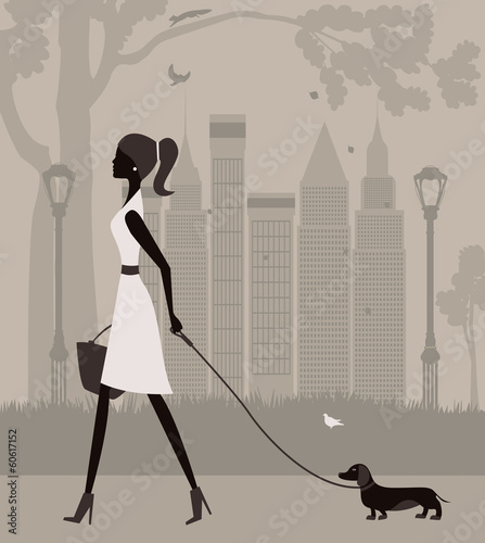 Woman walking with a dog. Vector
