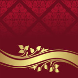 Red ornamental Background with golden floral border.